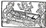 Medieval woodcut from the legend Tristan and Isolde